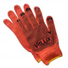 Перчатки VitLux ХБ оранжевые с ПВХ точкой